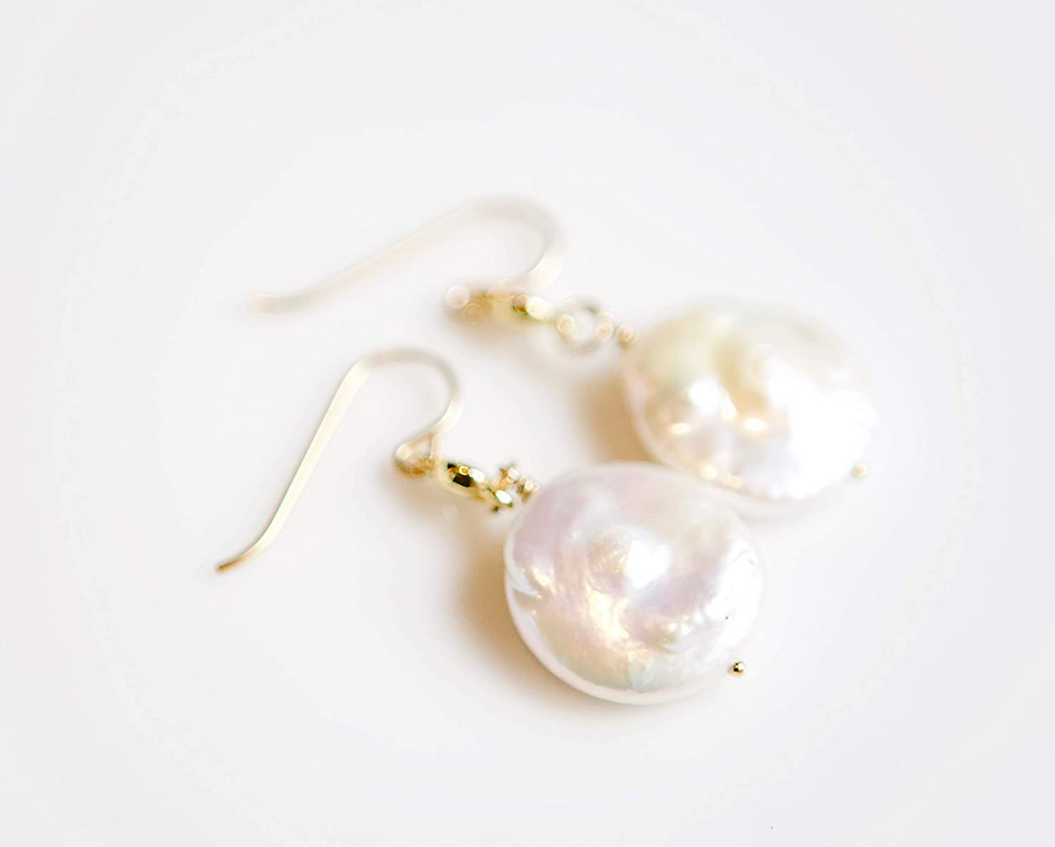 White Coin Pearl Dangle Gold Max 85% OFF Earrings Very popular