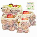 Bolsas Reutilizables de Frutas y Verduras, Bolsas de Suministros de Algodn Juego de 4 Bolsas de Rejilla | Bolsa de Comida (1*S, 2*M, 1*L)