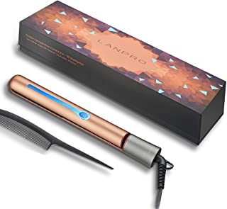 LANPRO Flat Iron Hair Straightener, 2 in 1 Straightener And Curling Iron, Titanium Straightening Flat Iron For Hair Styling Heats Up Fast Rotating Adjustable Temperature High Heat 265℉-450℉, 1