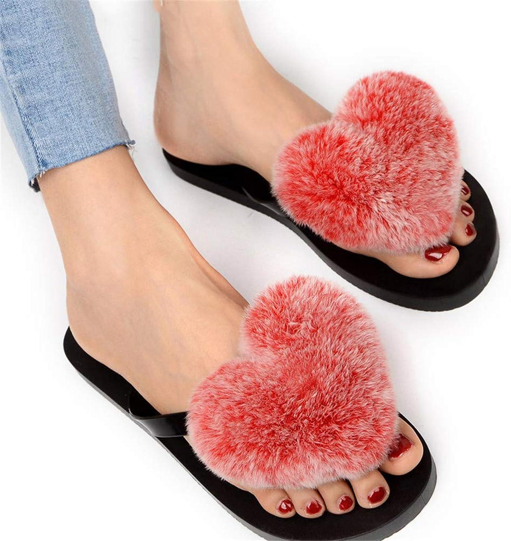 Women Flip Flops Pom Fur Sandals Fluffy Rabbit Hair Cartoon Heart-Shaped Indoor Slippers Lady Cute Plush shoes