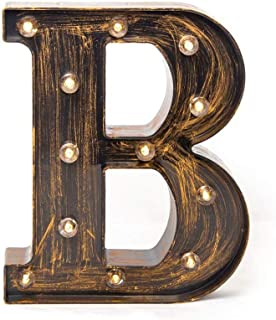 Glintee LED Marquee Letter Lights Vintage Style Light Up 26 Alphabet Letter Signs for Wedding Birthday Party Christmas Home Bar Cafe Initials Decor(B)