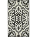 Maples Rugs Vivian Medallion Kitchen Rugs Non Skid Accent Area Carpet [Made in USA], 1'8 x 2'10, Grey