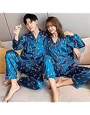 Traje de Pijama para Hombre, Conjuntos de Pijamas de Seda, Ropa de Dormir para Pareja, Pijamas de Verano, Traje de pantalón Corto de Manga Corta, Ropa de Dormir, Ropa de Dormir-Women_M_40-50KG