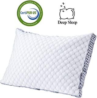 AiAngu Memory Foam Pillow with Cooling Zippered Cover and Adjustable Hypoallergenic Gel Infused Memory Foam Fill (King)