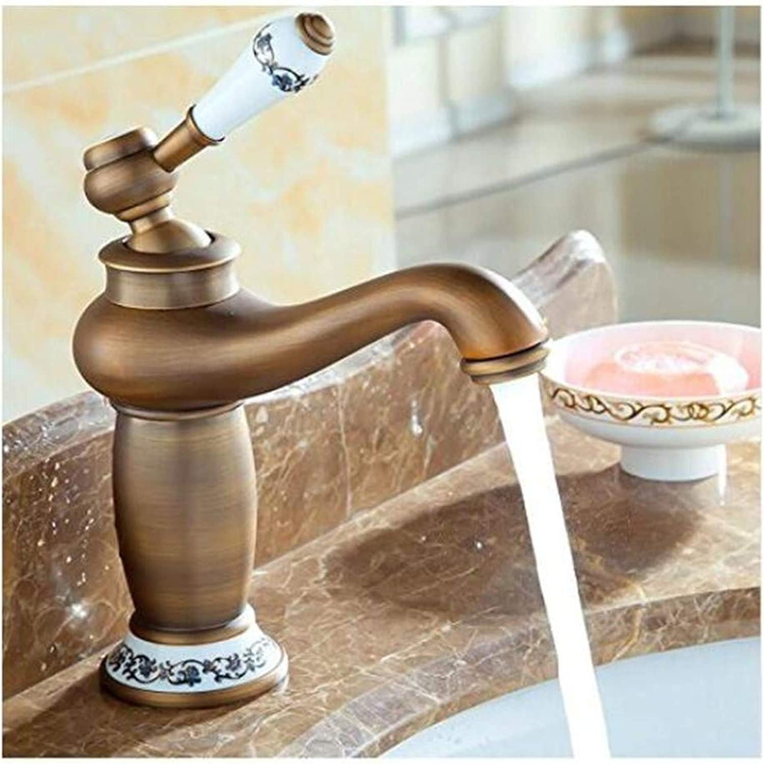 Faucet Kitchen Bathroom Retro Mixer Faucet Antique Brass Ceramic Handle Bathroom Basin Sink Faucet Countertop Mixer Tap with Hot and Cold Water