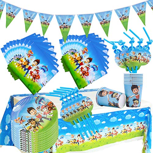 WENTS Gebutstag Party Set 52-Teiliges Party-Set Paw Patrol Teller Becher Servietten Geburtstag Dekoration Set Happy Birthday Deko Bunte Partykette Girlande Banner