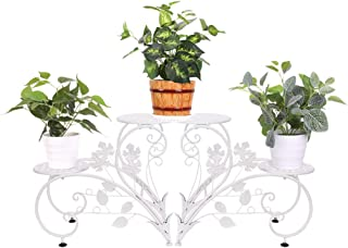 UNHO Metal Plant Pot Stand: 4 Potted Flower Pot Stand Metal Display Rack with 4 Holder for Patio Garden Indoor Outdoor