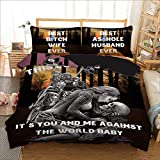 Skull Duvet Cover King 3D It's You and Me Printed Bedding Duvet Cover with Zipper Closure, Soft Microfiber Gothic Bedding Set (3 Pieces, King Size)