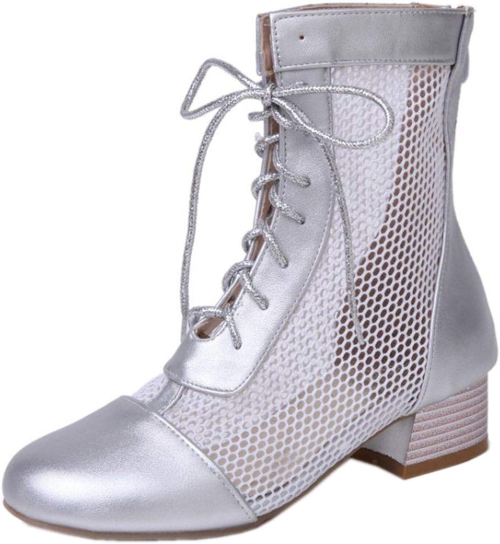 TAOFFEN Women Fashion Cut Out Ankle Boots Zipper