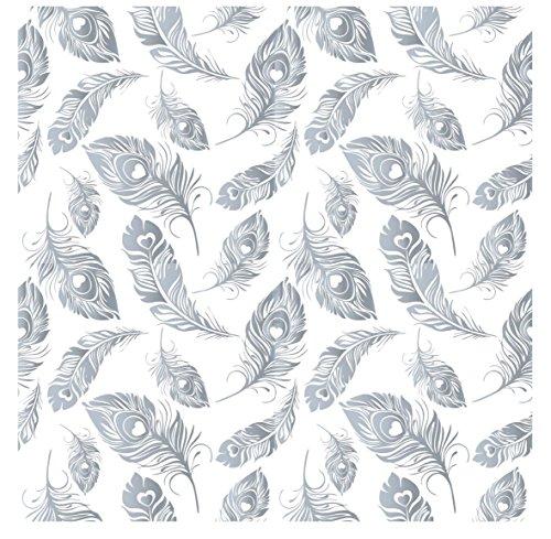 decorprint decalcomanía plumas plateadas, color plateado + blanco, 20x 20cm