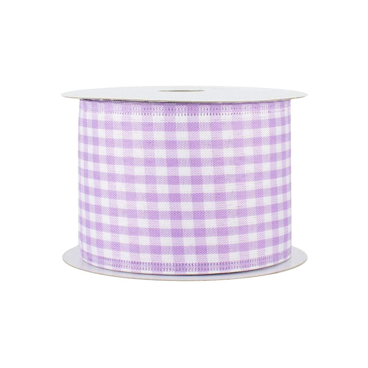 Lavender Gingham Wired Edge Ribbon - 2 1/2 Inch x 10 Yards, Valentine's Day, Spring, Christmas Decor, Birthday, Rustic Wedding, Farmhouse Party, Picnic, Baby Shower, Summer