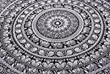 Indian Elephant Mandala Tapestry, Hippie Tapestries, Tapestry Wall Hanging, Indian Black & White Tapestry , Bohemian Dorm Decor Mandala Tapestries, Pyshedlic Tapestry, Hippy Mandala by Craftozone