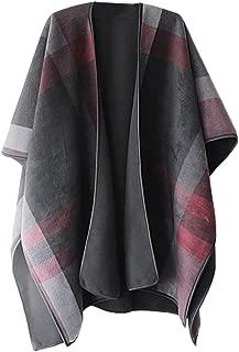 VamJump Women Open Front Thick Oversized Fleece Blanket Poncho Cape Shawl