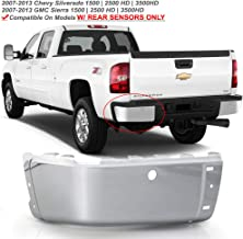 ACANII - For 2007-2013 Chevy silverado 1500 GMC Sierre 1500 Chrome Steel Rear Bumper End Cap w/Holes Driver Side Only