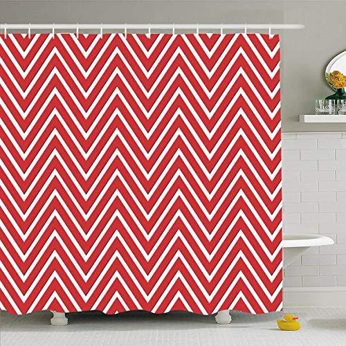 N/A Duschvorhang, 182,9 x 182,9 cm, Muster, Chevron-Muster, Rot/Weiß, abstrakt, niedlich, Hipp, Retro-Stil, Zickzack-Chic-Stil, wasserfest, Polyester-Gardinen Set mit Haken