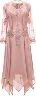 tutu.vivi V-Neck Chiffon Tea Length Mother of The Bride Dress Long Sleeves Lace Formal Evening Gowns with Jacket