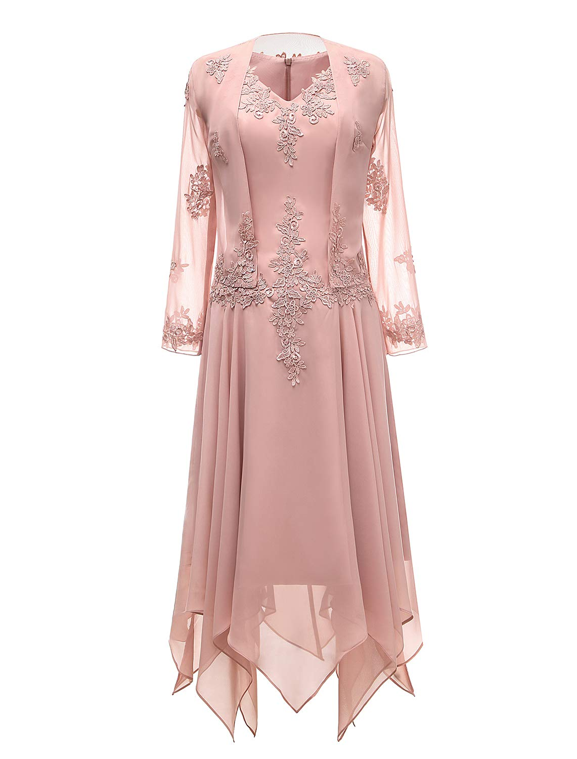 Mother Of The Bride Dresses - V-Neck Chiffon Tea Length Mother Of The Bride Dress Long Sleeves Lace Formal Evening Gowns With Jacket