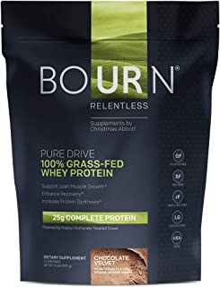 Bourn Relentless PURE DRIVE 100% Grass-Fed Whey Protein Powder; Gluten Free, Soy Free, USA Made; No Added Hormones (rBGH &...