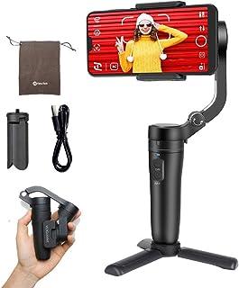 FeiyuTech Vlog Pocket 小型軽量 折りたたみ式ジンバル スマホ3軸スタビライザー ジンバル iPhone、Huawei、Samsung 、One Plus 対応 モーターロック設計、ワンキースイッチ、240gペイロード(ブラ...