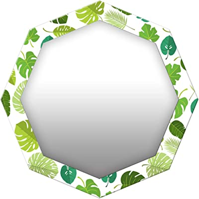999Store Printed Green Leaves Pattern Octagon Mirror (MDF_17X17 Inch_Multi)
