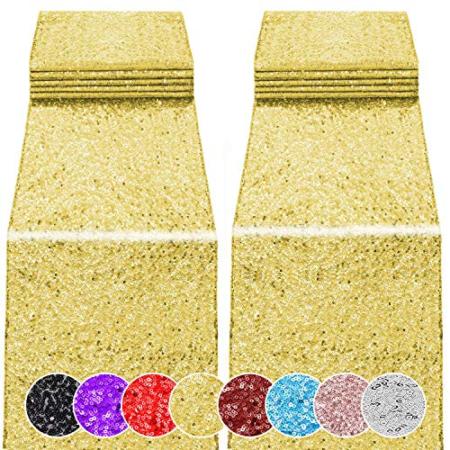 2 Pack 12 x 108 inches Sequin Table Runner for Birthday Wedding Bridal Shower Baby Shower Bachelorette Holiday Celebration Party Decorations Tables Supplies (2, Gold)