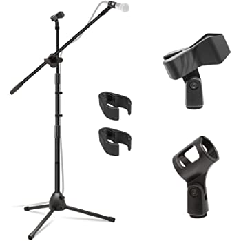 Kasonic Microphone Stand, Heavy Duty Adjustable Collapsible Tripod Boom Mic Stands with 2 Mic Clip Holders for Performance, Karaoke Singing, Speech, Wedding, Stage and Outdoor Activity - Black