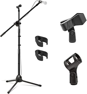 Kasonic Microphone Stand, Heavy Duty Adjustable Collapsible Tripod Boom Mic Stands with 2 Mic Clip Holders for Performance...