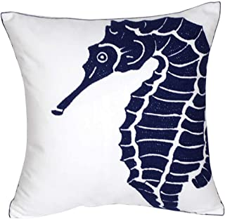 DECOPOW Embroidered Nautical Decor Pillow Covers,Square 18 Inches Decorative Canvas Pillow Cover for Nautical Style Deco by (Navy-Seahorse-New)