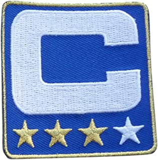 Royal Blue w/ 3 Gold Stars Captain C Patch Iron On for Football Jersey (Buffalo)