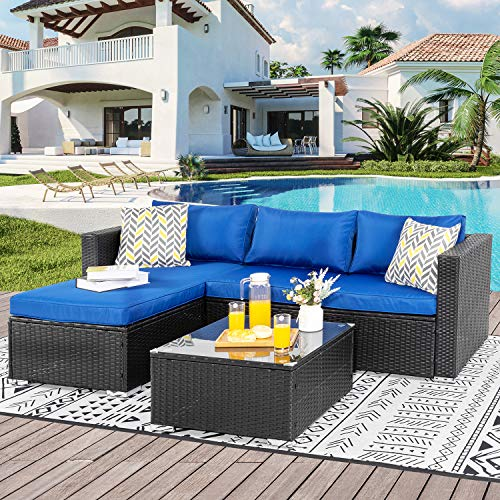 Shintenchi Outdoor Wicker Patio Sofa Set, Black All-Weather Rattan Small Sectional Patio Set Chaise Lounge w/ Glass Coffee Table and Washable Couch Cushions Patio Conversation Set(3 Piece, Drak Blue)