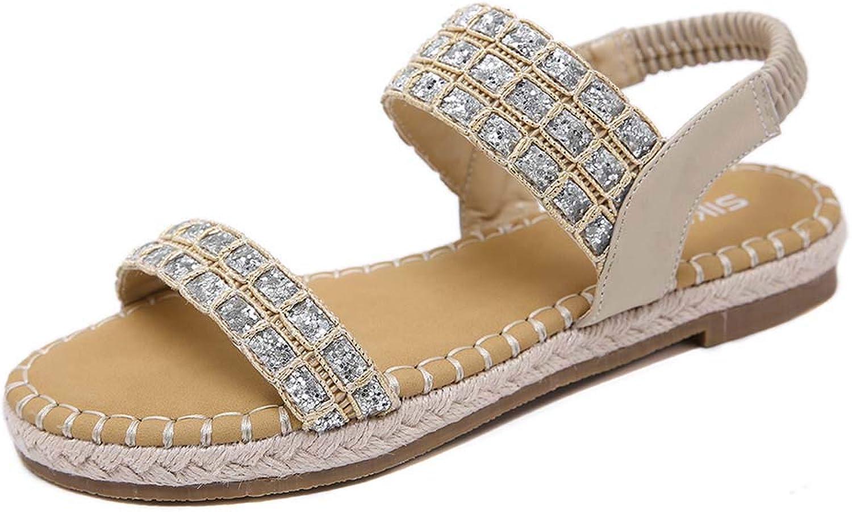 Women Elastic Strap Rhinestones Summer Flat Slingback Sandals, Bohemia Style Open Toe Flip Flops Casual Sandals shoes