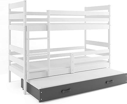 Eryk - Litera de 3 plazas con somier y colchón (200 x 90 cm), color blanco, gris, pino natural o aliso