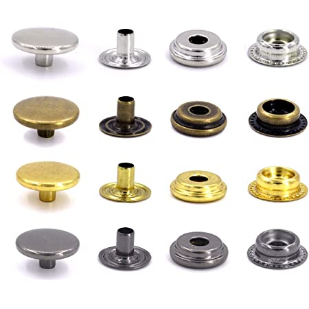 15mm, Gold DIY Metal Snap Fasteners Leather Snaps Button Press Studs Pack of 50 Sets