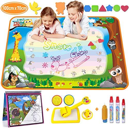 Aqua Magic Doodle - Wasser Doodle Matte 100*70cm Kinder, Große Magic Malmatte mit Wasser Buch , 4 Magic Stifte, 8 Stempelset- Perfektes Spielzeug für Mädchen Junge