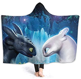 VIMMUCIR How to Tra-in Your Dragon Toothless Dragon 15 Hooded Blanket Throw Wearable Cuddle Fleece Throw Hoodie Cloak 50x60