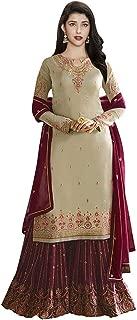 Comet Enterprise Women's Satin Georgette Sharara Salwar Suit (FN 22422; Coco; Free SIze)