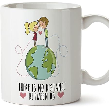 Tazze di prima colazione per gli amanti, i regali di coppia, i fidanzati, il biglietto di S. Valentin - There is no distance between us - Tazze in ce