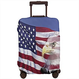 Travel Luggage Cover,Bless America Flag In The Wind With Eagle Icon Double Exposure Citizen Suitcase Protector