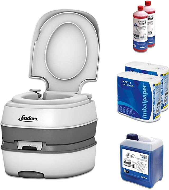 Wc chimico portatile per campeggio - deluxe starter set blue 5l con liquido sanitario & carta igienica 000004994