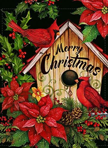 Furiaz Merry Christmas Cardinal Garden Flag, Winter Holiday Xmas Yard Outdoor Home Decorative Small Flag, Red Bird House Flowers Outside Decoration Seasonal Farmhouse Burlap Decor Double Sided 12 x 18