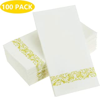 Urvoix Cloth-Like Paper Napkins - Disposable, Elegant, Heavy Duty Soft, Absorbent & Durable Linen-Feel Paper Guest Towels for Parties, Powder Room, Backyard BBQs, Dinners or Events(100-Pack)