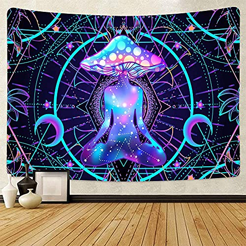 Psychedelic Mandala Tapestry Colorful Halloween Decorations Mushroom Tapestry Hippie Buddha Tapestry Chakra Trippy Meditation Decor Posters For Room Aesthetic Pink