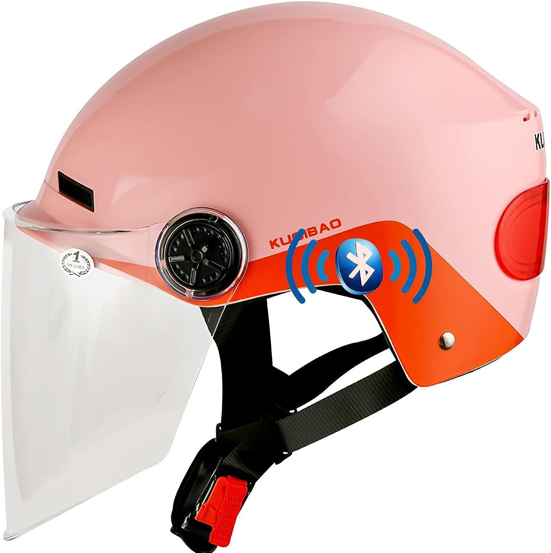 Medio Abierto Casco de Moto con Bluetooth Integrado,ECE Homologado con Visera Casco Moto Jet Scooter Casco de Seguridad para Mujer Hombre Adultos,con un Micrófono Incorporado D,56-62CM
