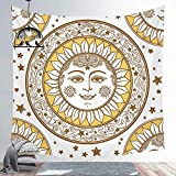 Sol Luna India Mandala pared colgante Tarot tapiz psicodélico Tapiz brujería pared tela de fondo A2 73x95cm