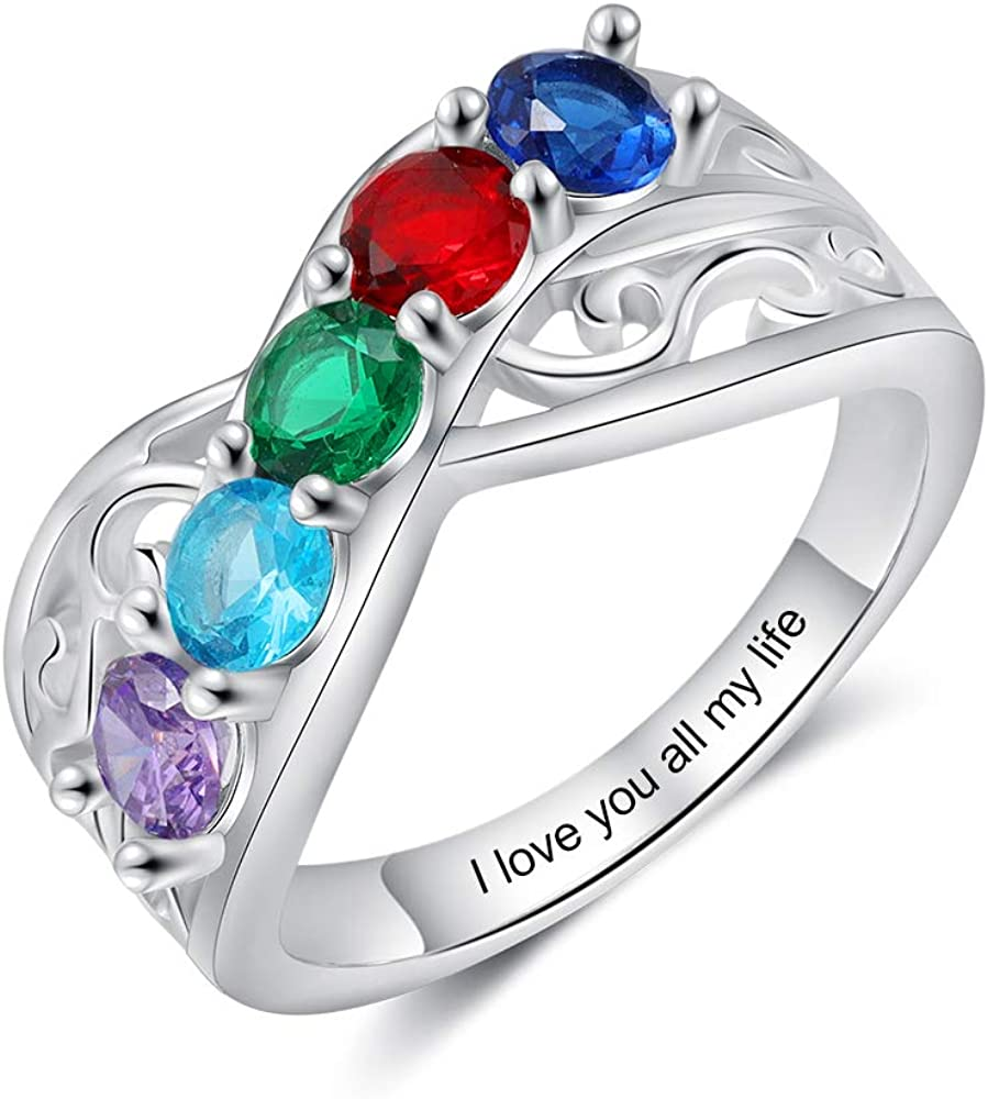 kaululu Custom Mother Rings with Birthstones Engraved Name Promise Ring Engagement Wedding Rings for Women Mothers Day Personalized Birthday Gifts for Daughter Wife