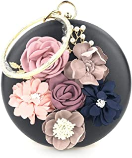 Hamkaw DIY Handmade Flowers PU Leather Ladies Round Purse,Clutch Bag, Messenger Bag with Zip for Evening, Wedding
