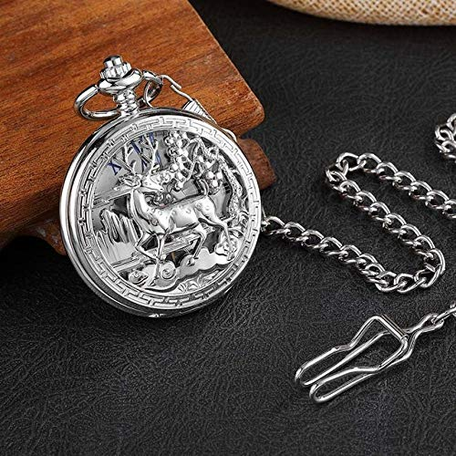 LOOIUEX Reloj de Bolsillo Vintage Gold Deer Hollow Hand Wind Reloj de Bolsillo mecánico de Lujo Collar Números Romanos Reloj de Cadena Colgante para Hombres Mujeres Regalo, Diseño 4