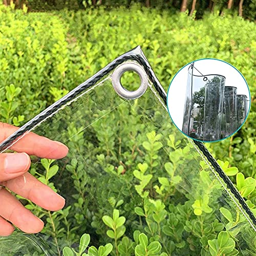 GLP Lona transparente a prueba de desgarros con ojales, lona de plástico transparente a prueba de lluvia engrosada, cubierta de techo de pérgola de PVC duradero (color: 0,5 mm, tamaño: 1,8 × 2 m)
