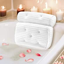 Bath Pillow for Head Neck and Shoulder Support, Mosuch 4D Air Mesh Luxury Spa Bathtub Pillow with 7 Non-Slip Suction Cups ...