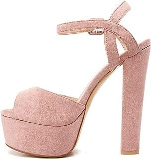 Women's Platform Chunky High Heels Faux Suede Ankle Strap Peep Toe Sandal Pumps Dress Party Shoes